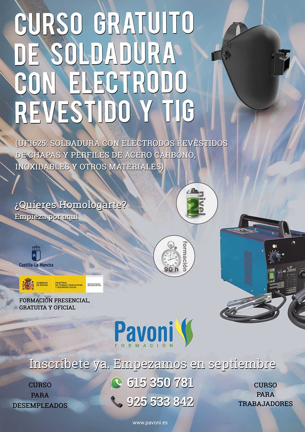 Curso gratuito de Soldadura con Electrodo Revestido y TIG